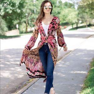 Angie Floral Print Duster Kimono